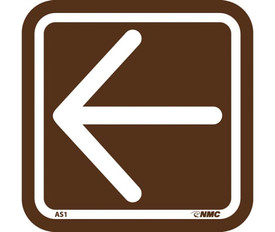 Acrylic Brown Office Signage - Aris Industrial Square brown sign with left white arrow and outlined in white.