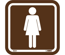 Acrylic Men Women Restroom Signs - Aris Industrial Square Brown sign with white woman graphic and white pipe border around edge of sign.