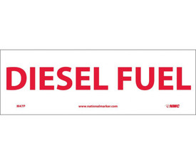 "Diesel Fuel 4x12 Sign - Aris Industrial White rectangular sign with the words ""DIESEL FUEL"" in red text."