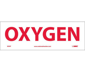 "Oxygen 4x12 Sign - Aris Industrial White rectangular sign with a words ""OXYGEN"" in red text."