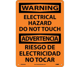 """Warning Electrical Hazard Do Not Touch Bilingual Sign - Aris Industrial Orange square English and Spanish sign with the words """"WARNING ELECTRICAL HAZARD DO NOT TOUCH"""" In black text and black boarder."""