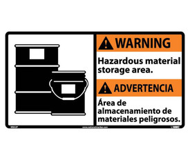 """Warning Hazardous Material Storage Graphic Bilingual Sign - Aris Industrial Orange rectangular English and Spanish sign with the words """"WARNING HAZARDOUS MATERIAL STORAGE AREA"""" Black text. Orange warning background and has graphic of 2 waste barrels on left side of text."""