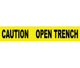 "Caution Open Trench 3 Inch Printed Barricade Tape - Aris Industrial Barricade Tape with the words ""CAUTION OPEN TRENCH"" with yellow background and black text."