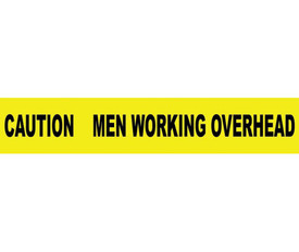 "Caution Barricade Tape Men Working Overhead - Aris Industrial Barricade Tape with the words ""CAUTION MEN WORKING OVERHEAD"" on yellow background and black text."