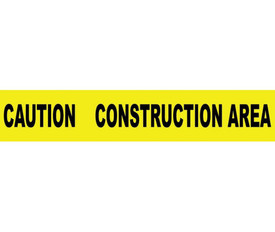 "Caution Construction Area 3 Inch Printed Barricade Tape - Aris Industrial Barricade Tape with the words ""CAUTION CONSTRUCTION AREA"" on yellow background in black text."