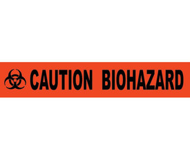 "Caution Biohazard Printed 3 Inch Barricade Tape - Aris Industrial Barricade Tape with the words ""CAUTION BIOHAZARD"" on red background in black text."