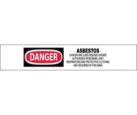 "OSHA Danger Asbestos May Cause Cancer Printed Barricade Tape - Aris Industrial White barricade tape with the words ""DANGER ASBESTOS CANCER AND LUNG DISEASE HAZARD AUTHORIZED PERSONNEL ONLY RESPIRATORS AND PROTECTIVE CLOTHING ARE REQUIRED IN THIS AREA"" in black text with circular red background behind danger."