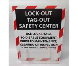 Lockout Safety Center With Supplies - Aris Industrial Red, Black and White Lockout Safety Center Board with empty acrylic holder attached.