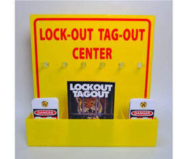 Yellow Acrylic Lockout Tagout Center - Aris Industrial Yellow Lockout Tagout Center with yellow holder attached. Pamphlet in middle section and tags in both end slots.