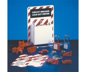 Circuit Breaker Lockout Center With Supplies - Aris Industrial white Circuit Breaker Lockout Center Board with red stripes around the edge. Center has supplies laid in front including locks, hasps, tags and plugs.