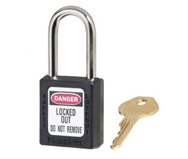 Colored Permanent Write On Lockout Padlocks  - Aris Industrial Xenoy Black Padlock with key