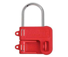 Steel Shackle Plastic Hasp - Aris Industrial Red Master lock steel hasp.