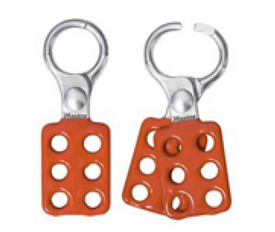 Spark Resistant Aluminum Hasp - Aris Industrial Two red  lock out hasps.