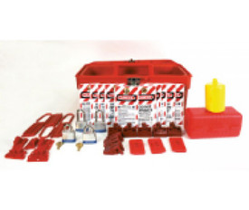 Starter Electrical Lockout Kit With Tool Box - Aris Industrial Electrical Lockout Kit with red Tool Box, padlocks, tags and electrical lockouts.