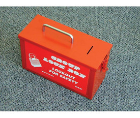 Metal Group Single And Multi Lock Boxes - Aris Industrial Metal Red slot box with handle on top and 1 slot opening on top.