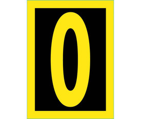 Reflective Hi Viz 0 to 9 Numbers - Aris Industrial Yellow Number 0. Yellow reflective Number 0 on Black Background and outer edge trimmed in reflective yellow