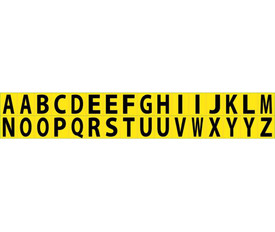 Self Adhesive Letters  A to Z - Aris Industrial Black on Yellow self adhesive A to Z letters