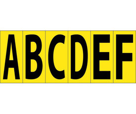 3 Inch Self Adhesive Letters A to Z - Aris Industrial Black on Yellow self adhesive 3 Inch A to F letters
