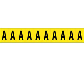 One Inch Self Adhesive Single Letters A to Z - Aris Industrial Black on Yellow self adhesive 1 Inch Letter Capital A and 10 Letter A's on a card
