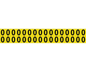 Self Adhesive Single Numbers Small 0 to 9 - Aris Industrial Black on Yellow self adhesive 5/8 Inch Number 0 and 32 Numbers on a card