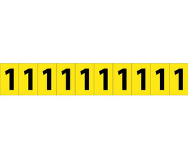 Self Adhesive Single Numbers 1 Inch 0 to 9 - Aris Industrial Black on Yellow self adhesive 1 Inch Number 1 and 10 Number 1's on a card