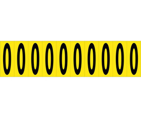 2 Inch Self Adhesive Single Numbers 0 to 9 - Aris Industrial Black on Yellow self adhesive 2 Inch Number 0 and 10 Number 0's on a card