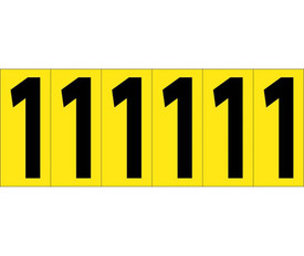 3 Inch Self Adhesive Single Numbers 0 to 9 - Aris Industrial Black on Yellow self adhesive 3 Inch Number 1 and 6 Number 1's on a card