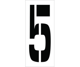 """Individual Character Stencil Set 24 Inch - Aris Industrial White Square 24 inch Stencil of the number """"5"""" on a white sheet"""