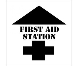 "First Aid Station with Arrow Marking Stencil - Aris Industrial White stencil with the words ""FIRST AID STATION and a cross symbol at the bottom and an arrow pointing upward at the top."