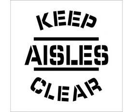 "Keep Aisles Clear Bilingual Marking Stencil - Aris Industrial White stencil with the words ""KEEP AISLES CLEAR"""