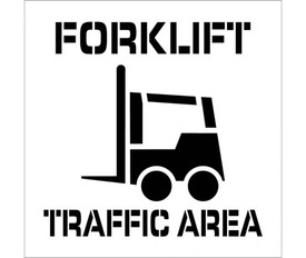 "Forklift Traffic Area Marking Stencil - Aris Industrial stencil with the words ""FORKLIFT TRAFFIC AREA"" and a picture of a forklift."