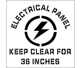 "Electrical Panel Keep Clear Marking Stencil - Aris Industrial stencil with the words ""ELECTRICAL PANNEL KEEP CLEAR FOR 36 INCHES"" surrounding a lightening bolt."