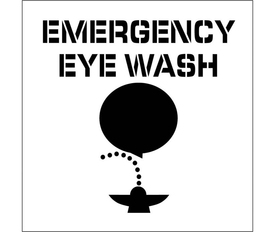 "Emergency Eye Wash Marking Stencil - Aris Industrial stencil with the words ""EMERGENCY EYE WASH"" above a man bent over cleaning his eyes in a spraying fountain."