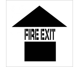 "Made in USA Fire Exit Marking Stencil - Aris Industrial stencil with the word ""FIRE EXIT"" and a an arrow pointing upwards."