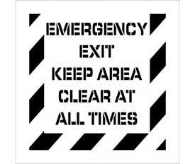 "Emergency Exit Keep Area Clear Stencil - Aris Industrial stencil with the words ""EMERGENCY EXIT KEEP AREA CLEAR AT ALL TIMES"" with wide stripes around the entire edge."