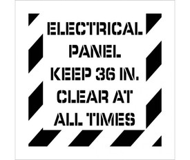 "Electrical Panel Keep Clear Stencil - Aris Industrial stencil with the words ""ELECTRICAL PANNEL KEEP 36IN. CLEAR AT ALL TIMES"" and wide stripes around the entire edge."
