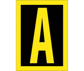 Vinyl Reflective 1.5 Inch A to Z Letters - Aris Industrial 1.5 Inch Yellow Reflective Letter A on Black background with yellow border
