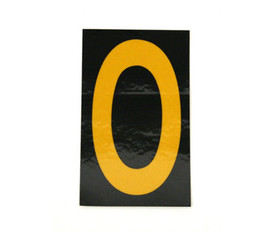 Vinyl Reflective 1.5 Inch 0 to 9 Numbers - Aris Industrial 1.5 Inch Yellow Reflective Number 0 on Black background with yellow border