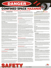 Confined Space Informational Hazards Poster - Aris Industrial Danger Confined Space Informational Hazards Poster