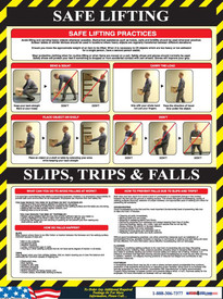 Safe Lifting Employee Informational Poster - Aris Industrial Safe Lifting Slips, Trips & Falls Employee Informational Poster with 11 pictures of a man showing how to lift safely.