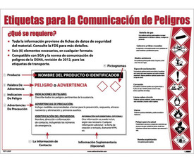 Spanish Hazcom12 GHS Requirements Poster - Aris Industrial White Spanish Hazcom12 GHS Communication Requirements Poster