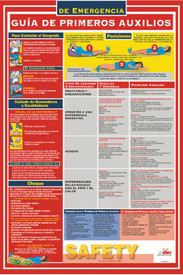 Spanish First Aid Preparedness Poster - Aris Industrial Red Spanish First Aid Preparedness Poster