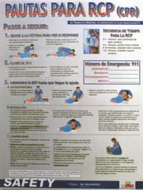 Spanish CPR Techniques Poster - Aris Industrial Spanish CPR Techniques Poster