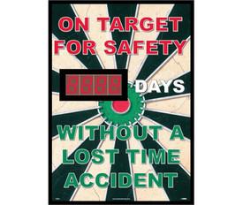 "On Target Safety Days Without Lost Time Accident Scoreboard - Aris Industrial Rectangular digital score board with the words ""ON TARGET FOR SAFETY __DAYS. WITHOUT A LOST TIME ACCIDENT ""In Red white and green text on a dartboard background."