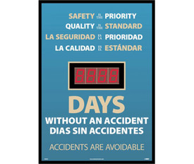 "Bilingual Safety Is Priority Lost Days Accident Tracker - Aris Industrial Rectangular bilingual digital score board with the words ""SAFETY IS THE PRIORITY. QUALITY IS THE STANDARD. # of days WITHOUT AN ACCIDENT ""In white text on blue background."