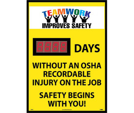 "Teamwork Improves Safety Days No OSHA Injury Scoreboard - Aris Industrial Rectangular digital score  board with the words ""TEAMWORK IMPROVES SAFETY._DAYS WITHOUT AN OSHA RECORDABLE INJURY ON THE JOB.SAFETY BEGINS WITH YOU ""In black text on yellow background."