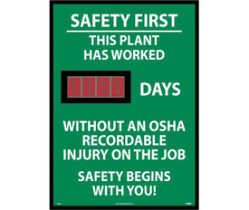 "Safety 1st No OSHA Injury Digital Scoreboard Tracker - Aris Industrial Rectangular digital score board with the words ""SAFETY FIRST THIS PLANT HAS WORKED 8888 DAYS WITHOUT  AN OSHA RECORDABLE INJURY ON THE JOB SAFETY BEGINS WITH YOU"" In white text and green background."