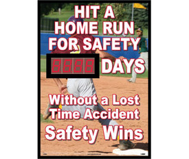 "Hit Home Run For Safety Days Without Accident Scoreboard - Aris Industrial Rectangular digital score board with the words ""HIT A HOME RUN FOR SAFETY __DAYS. WITHOUT A LOST TIME ACCIDENT SAFETY WINS"" In white text and boy running on base in baseball game in background."