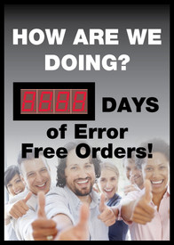 "How Are We Doing Days Of Error Free Orders LED Scoreboard - Aris Industrial Rectangular digital score board with the words ""HOW ARE WE DOING? __DAYS OF ERROR FREE ORDERS! ""In black and white text and has a picture of people holding their thumbs up."