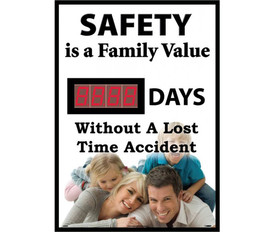 "Safety Is Family Days Without Lost Time Accident LED Tracker - Aris Industrial Rectangular digital score board with the words ""SAFETY IS A FAMILY VALUE.__DAYS WITHOUT A LOST TIME ACCIDENT ""In black text and has picture of family lying on each other."